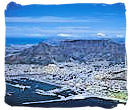 Aerial view of Cape Town and Table Mountain in South Africa