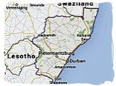 Map of KwaZulu-Natal province, South Africa