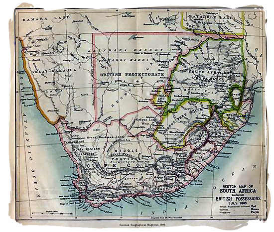 1885 map of Southern Africa showing the British possessions