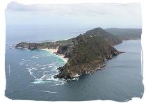 Aerial view of Cape Point with the Cape of Good Hope (also known as Cape of Storms) sticking out on the left