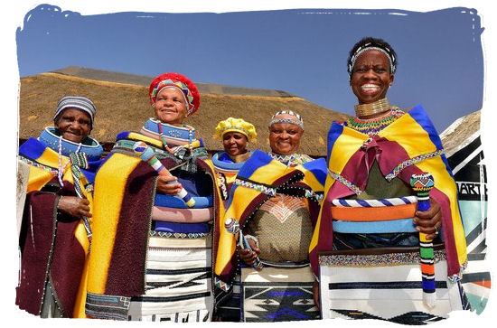Ndebele women in their colourfull dresses and beadwork