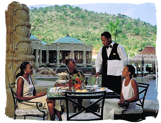 South African food adventure in a restaurant at the Lost City resort