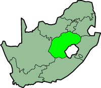 Free State province - map position