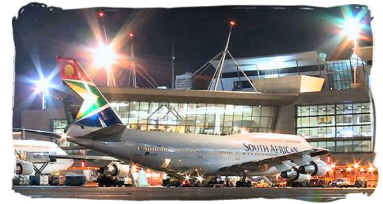 Night view of the airplane parking area in front of the international arrival and departure terminals at OR Tambo Airport - Cheap Flights to Johannesburg Airport South Africa