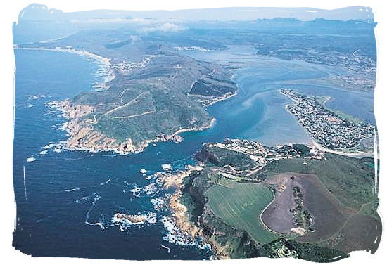 Aerial view of the Knysna Heads marking the entrance to the lagoon from the Indian ocean