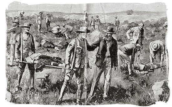 The British taking care of their dead and wounded after the battle of Magersfontein - Anglo Boer War in South Africa