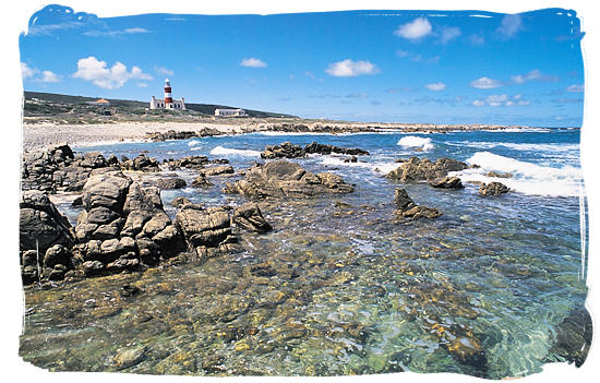 The old lighthouse at the Agulhas National Park, viewed from the west