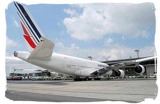 An Airbus 380 airplane at OR Tambo International Airport