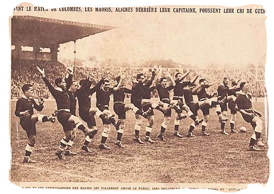 "The New Zealand All Blacks doing the ""Haka"" on their tour in France in 1926 - South African Rugby, South Africa Rugby Team, Early Days"