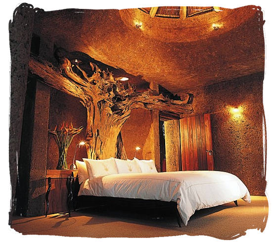 The Amber suite at the Earth Lodge in the luxury Sabi Sabi private game reserve