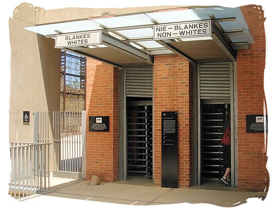 Entrances for Whites and Non-Whites to the Apartheid museum, depicting life in the Apartheid era - City of Johannesburg South Africa Attractions, the Top 15