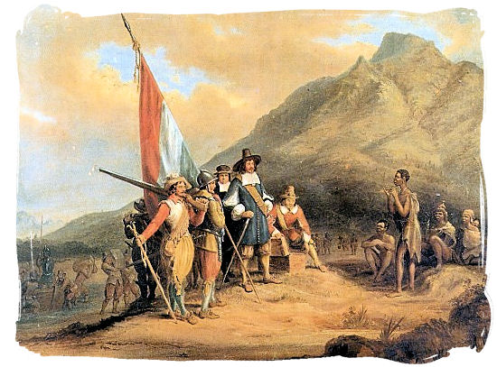 Painting by Charles Bell depicting the arrival of Jan van Riebeeck in the Cape - History of Cape Town South Africa, Cape of Good Hope History