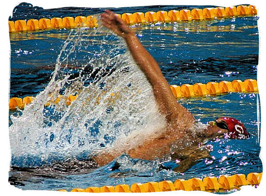 The backstroke, also sometimes called the back crawl, is one of the four swimming styles regulated by FINA, and the only regulated style swum on the back - South Africa Sports Top Ten South African Sports