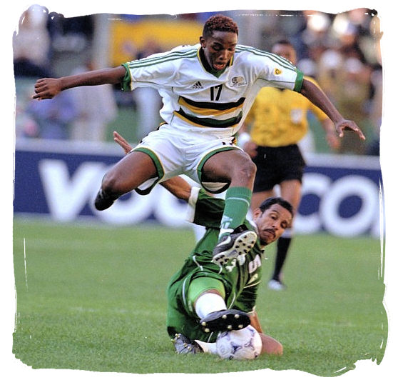 Bafana Bafana striker Benni McCarthy in action - Soccer in South Africa, Bafana Bafana South African Soccer Team