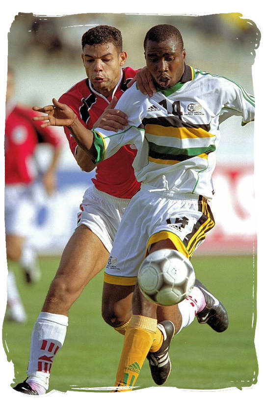 Bafana Bafana striker Siyabonga Nomvete in action - Bafana Bafana South African Soccer Team