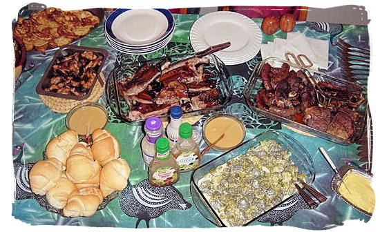 Example of a South African barbecue spread - South African traditional food