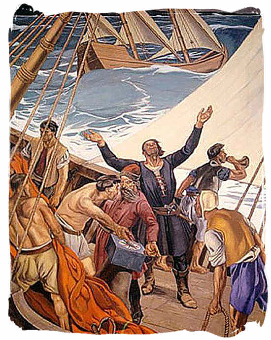 Portuguese explorer Bartolomeu Dias and his crew rounding the Cape in stormy seas - History of Cape Town South Africa, Cape of Good Hope History