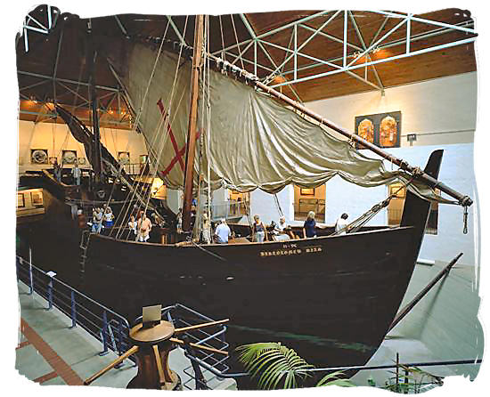 A replica of the ship in which in which Portuguese seafarer Bartolomeu Dias rounded the southern tip of Africa in 1488 - Brief History of South Africa, South Africa History Illustrated