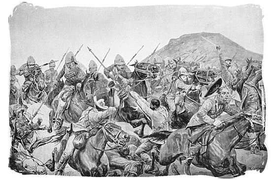 Drawing depicting the battle of Elandslaagte - Anglo Boer war battlefields tours in South Africa.
