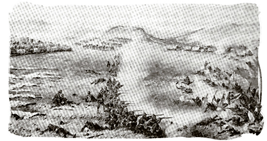 Sketch of the Battle of Khambula, the Zulus in the foreground are being driven back into the ravine - The Anglo Zulu war, more about Zulu people and Zulu history
