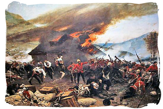 Painting of the Battle of Rorke's Drift - The Anglo Zulu war, more about Zulu people and Zulu history