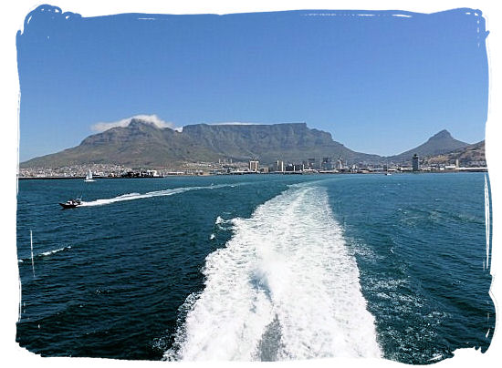 The Robben Island ferry on its way to the island from Nelson Mandela gateway at the V&A Waterfront