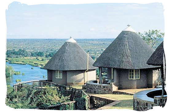 Olifants Restcamp, Kruger National Park, South Africa - Bungalows at the camp with spectacular view across the river and the surrounding bushveld