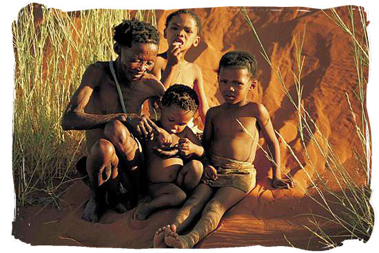 Khoisan family in the Kalahari desert - The San People or Bushmen of South Africa, also known as the Khoisan