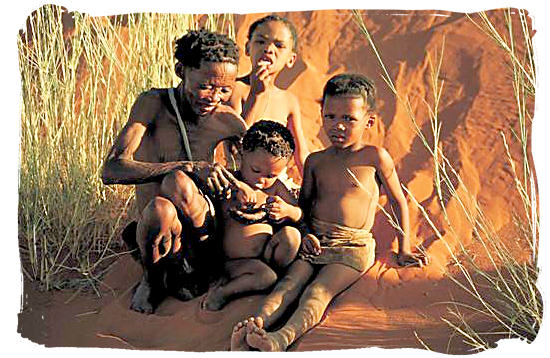 "A ""San"" family, descendents of the original inhabitants of South Africa - Kgalagadi Transfrontier National Park in South Africa"
