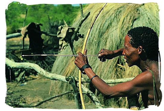 The San people hunted with wooden bow and arrow and used clubs and spears if necessary - The San People or Bushmen of South Africa, also known as the Khoisan