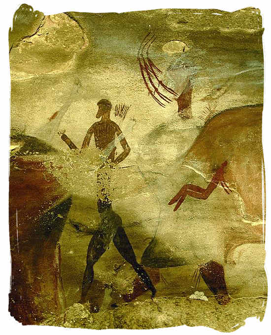 One of the thousands of rock paintings depicting the San people's way of life and their religious beliefs - The San People or Bushmen of South Africa, also known as the Khoisan