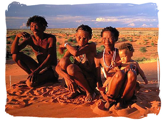 Descendents of the original inhabitants of South Africa, the ancient San people - Kgalagadi Transfrontier Park in the Kalahari