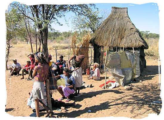 Present-day Khoisan people in a small village - The Khoisan People, Blend of the Khoi and San people in South Africa