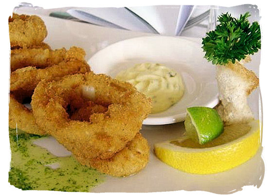 Calamari rings and tartare sauce - Portuguese food cuisine in South Africa