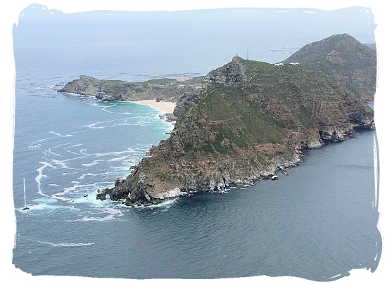 Arial view of cape Point with the Cape of Good Hope sticking out to the left - Table Mountain National Park near Cape Town in South Africa