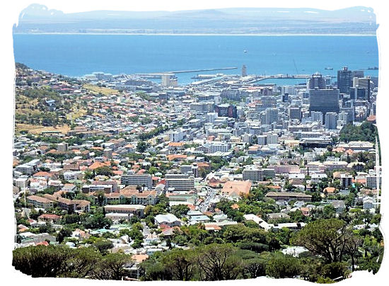 View from Table Mountain of Cape Town CBD with the harbour and Table bay in the background - Victoria & Alfred Waterfront Cape Town, Table Mountain Backdrop