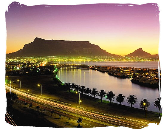 View of Table Mountain and part of Table Bay at dusk - Cape Town holiday attractions, Table Mountain National Park