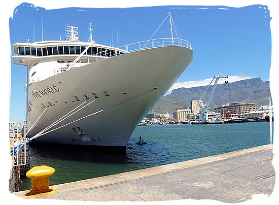 Cruise ship The World in the harbour of Cape Town