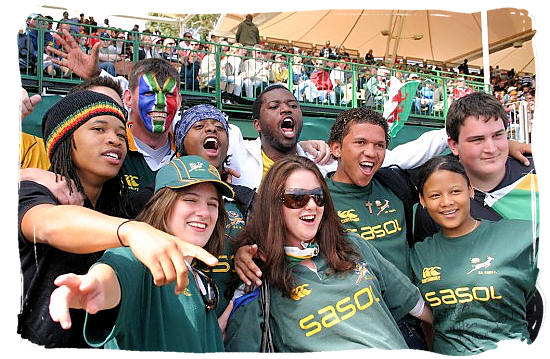 Celebrating South African Springbok supporters - Springbok rugby in South Africa and the South Africa rugby team