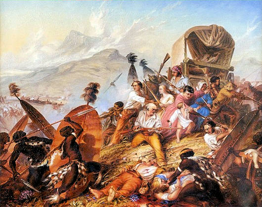 1838 Painting of a Zulu attack on a Voortrekker camp, by Charles Bell 1813-1882 - South African Art, Art Galleries in South Africa, South African Artists