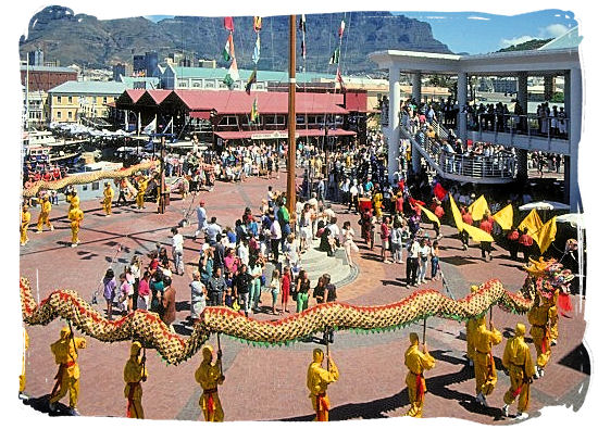 Chinese new year festival at the V&A Waterfront in Cape Town - Victoria & Alfred Waterfront Cape Town, Table Mountain Backdrop