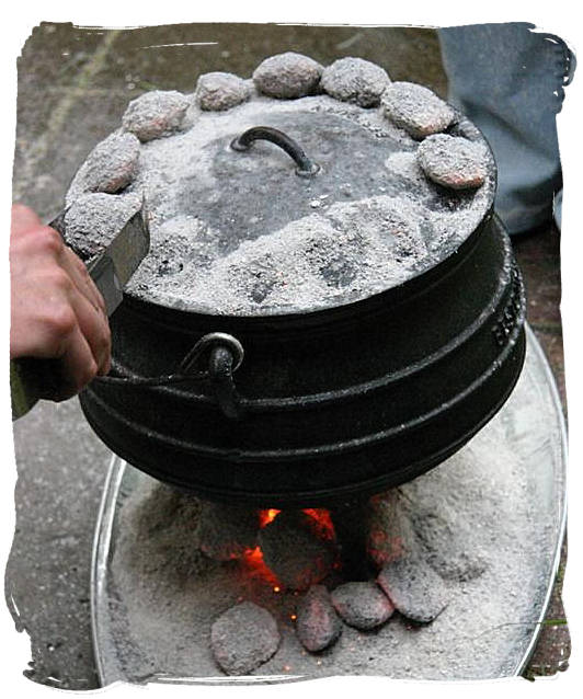 Simmering potjie - pot food (Potjiekos) in South Africa