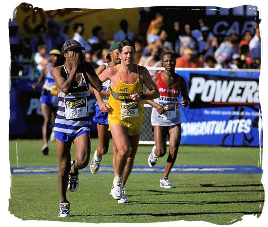 Last meters to the finish at the end of the 80 km Comrades Marathon - South Africa Sports Top Ten South African Sports