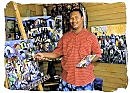 South African artist Sandy Esau in his art studio in Darling, Western Cape province