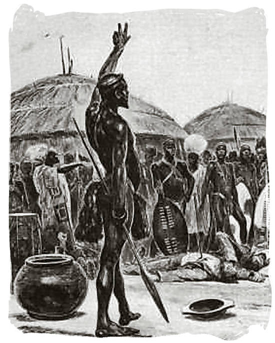 Sketch of the Zulu king Dingane chanting over the dead body of Piet Retief - Battle of Blood River
