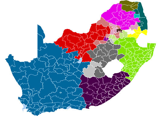 Map showing in which areas of the country the different black languages are spoken - languages of south africa, south african language