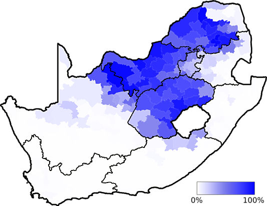 Map showing in which area of the country the Sotho language group is dominant - languages of south africa, south african language
