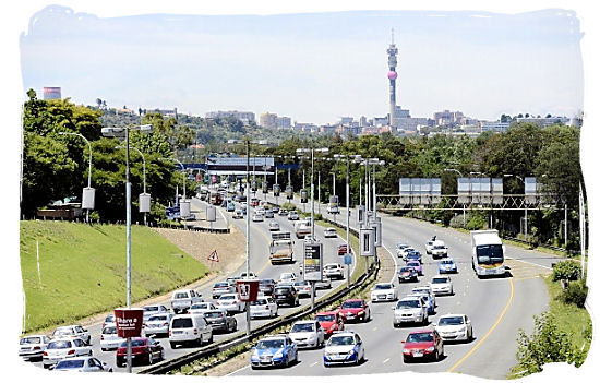 Traffic on the M1 metropolitan highway in Johannesburg