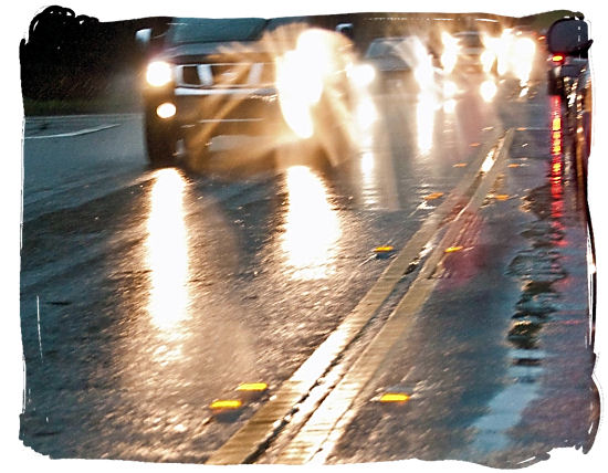 Low visibility driving in the rain at night, a potential night-time danger