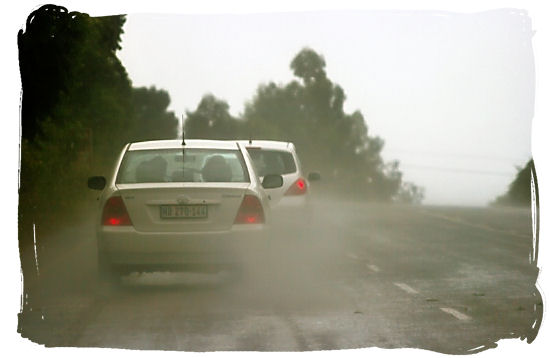 Low visibility and slippery conditions driving in a thunder storm